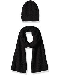 Amazon Essentials Cable Knit Hat And Scarf Set - Black