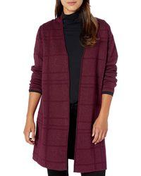 Kasper Plaid Stitch Long Cardigan Sweater - Purple