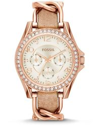 Fossil Damen Analog Quarz Uhr mit Leder Armband ES3466 - Mehrfarbig
