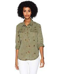 Pam & Gela Back Pleated Shirt - Green