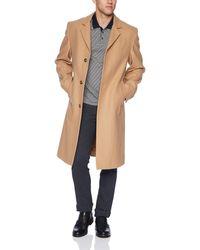 London Fog Signature Wool Blend Top Coat - Natural