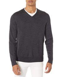 Calvin Klein Merino Sweater V-neck Solid - Gray