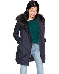 French Connection 3/4 Asymmetrical Oversized Puffer Coat - Blu