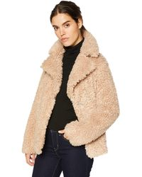 Kensie Short Fuax Fur Coat With Large Notch Collar And Lapel - Natural