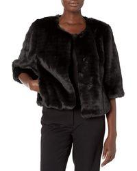Calvin Klein Solid Faux Fur Shrug - Black