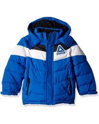 Reebok Boys' Little Active Hooded Bubble Jacket - Blue
