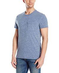 ATM Melange Jersey Pocket Crew Shirt - Blue