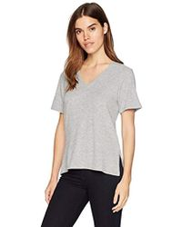 Michael Stars - Madison Brushed Jersey Short Sleeve V-neck With Side Slits - Lyst