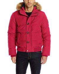 Tommy Hilfiger - Arctic Cloth Quilted Snorkel Bomber Jacket Removable Faux Fur Trimmed Hood - Lyst