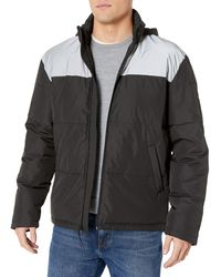 Kenneth Cole Iridescent Zip Up Puffer Jacket - Black