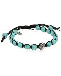Tai - Turquoise-color Ball With Aqua Pave Swarovski Crystal Ball Bracelet - Lyst