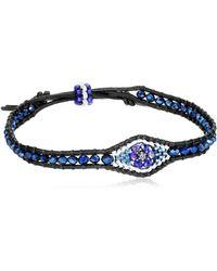 Miguel Ases Tanzanite Hydro-quartz Evil Eye Leather Slip-knot Bracelet - Blue