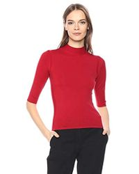 5026a632d4d Theory - Half Sleeve Fitted Turtleneck Shell - Lyst