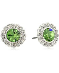 Vera Bradley - Pave Stud Earrings In Silver Tone With Green - Lyst
