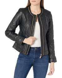 Vince Camuto Chain Trim Quilted Leather Jacket - Black