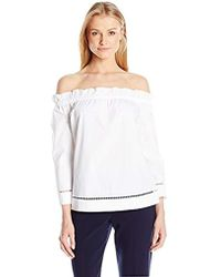 Trina Turk - Hanalei Polished Shirting Off Shoulder Top - Lyst