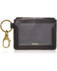 """Fossil Lee Leather Card Case Wallet With Keyring Attachment,3.88""""l X 0.19""""w X 3""""h,black"""