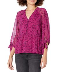 Kensie Floral Vines Printed 3/4 Sleeve Button Front Blouse Top - Red