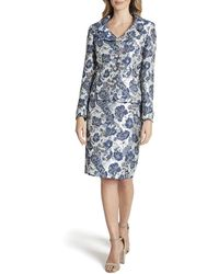 Tahari Nested 4 Button Jacquard Jacket And Pencil Skirt - Blue