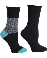 Steve Madden Legwear 2pk Lurex Boot Sock Sm45289, Black, 9-11