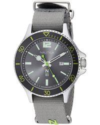 Nautica N83 Napabs905 Accra Beach Gray/green Fabric Slip-thru Strap Watch