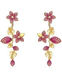 Swarovski - Tropical Drop Stud Pierced Earrings With Hanging Floral And Leaf Design And Gradient Pink Crystals On A Gold-tone Plated Setting - Lyst