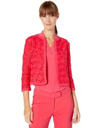 Anne Klein Floral Lace Mesh Cardigan - Red