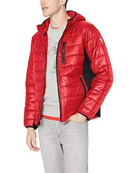 Guess Hooded Puffer With Side Stretch Panels - Red
