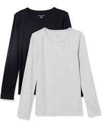 Amazon Essentials 2-Pack Slim-fit Long-Sleeve Crewneck T-Shirt Fashion - Gris