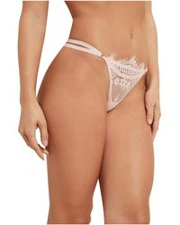 Guess Strappy Lace Thong Panty - Pink