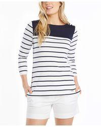 Nautica Breton Striped 3/4 Sleeve Pure 100% Cotton Shirt - Blue