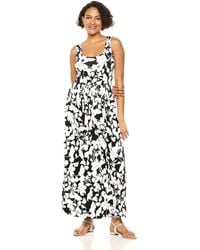 Amazon Essentials Patterned Tank Waisted Maxi Dress - Black