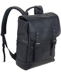 """Kenneth Cole Reaction Colombian Leather Single Gusset Flapover Computer Backpack, 14.1"""" - Black"""