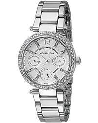 51c22d76799d Michael Kors - Mini Parker Silver-tone Watch Mk5615 - Lyst