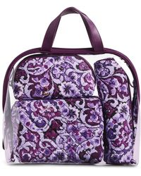 Vera Bradley 4 Piece Cosmetic Makeup Organizer Bag Set - Purple
