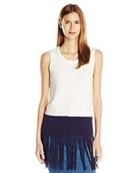 Two By Vince Camuto S/l Crewneck Long Fringed Sweater Tank - White