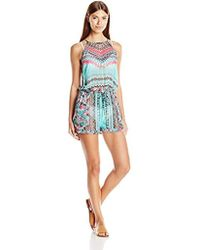10feaa0a0ff8 Jessica Simpson - Dakota Placement High Neck Romper Cover Up - Lyst
