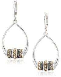 Nine West - Tri-tone And Crystal Orbital Drop Earrings - Lyst