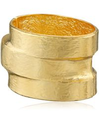 Kenneth Jay Lane Hammered Polished Gold-plated Three-tiered Hinged Cuff Bracelet - Metallic