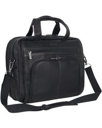 """Kenneth Cole Reaction Out Of The Bag' Hattan Colombian Leather Rfid 15.6"""" Laptop Briefcase - Black"""