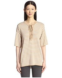 SOCIETY NEW YORK - Stripe Lace Front Tunic Sweater - Lyst