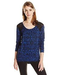 Jessica Simpson Amber Pullover With Shoulder Detail Sweatshirt - Blue
