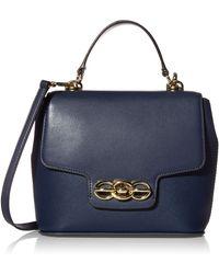 Calvin Klein Evelyn Daytona Leather Top Handle Crossbody - Blue