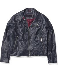 Tommy Hilfiger Faux Leather Classic Moto Jacket - Blue