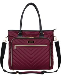"""Kenneth Cole Reaction Chevron 15"""" Laptop & Tablet Business Tote With Removable Shoulder Strap - Red"""