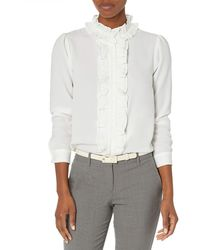 Tahari Long Sleeve Ruffle Blouse - White