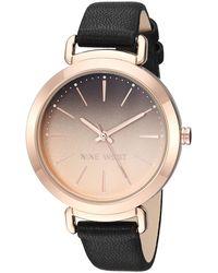 Nine West Nw/2288rgbk Rose Gold-tone And Black Strap Watch - Metallic