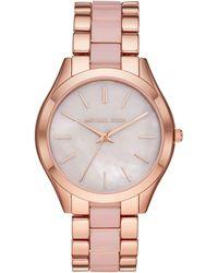 Michael Kors Slim Runway Quartz Watch With Stainless Steel Strap - Pink