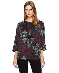 Armani Jeans - All Over Printed Poly Satin 3/4 Sleeve Blouse - Lyst