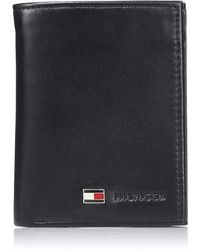 Tommy Hilfiger Trifold Wallet-sleek And Slim Includes Id Window And Credit Card Holder - Black